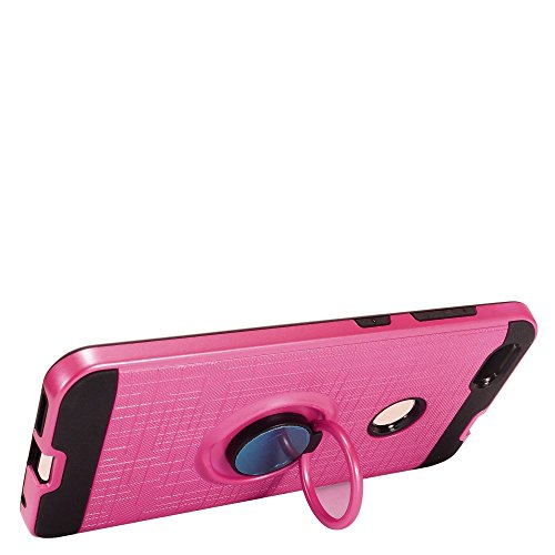 ZTE [Blade X] Case, HJ Power[TM] For ZTE [Blade X] Z965 ()--Brushed Metal RS2 HYBRID with Ring Stand Case Black Pink ()