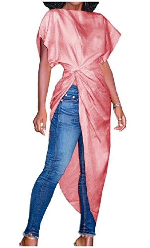 Rise Irregular Color Shirts Solid Knot Coolred T Pink High Baggy Women Dresses q7xEwBcpX6