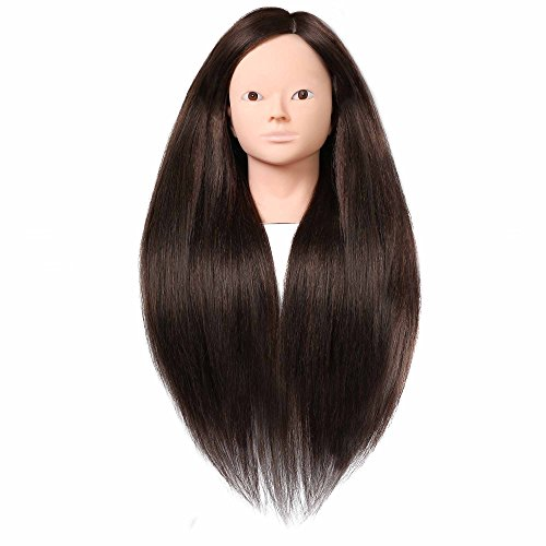 SILKY 26-28 Long Hair Mannequin Head with 60% Real Hair, Hairdresser Practice Training Head Cosmetology Manikin Doll Head with 9 Tools and Clamp - #4 Brown, No Makeup