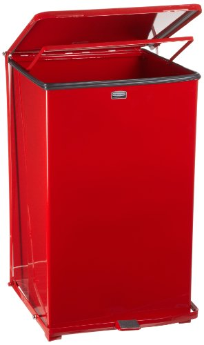 Rubbermaid Commercial Defenders Front Step-On Trash Can, 40 Gallon, Red Gloss ()
