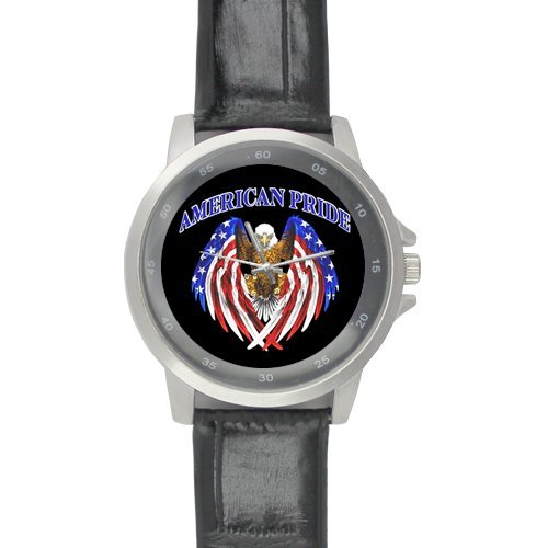 Awesome Bald Eagle with American Flag Design, America Pride Custom Unisex Stainless Steel Leather Strap Watch Metal Case, Tempered Glass, Black Leather Band