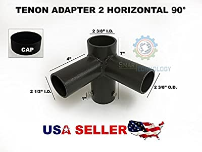 Tenon Adapter with 2 Horizontal 90 Degr for Shoebox Wallpack Floodlight LED Lamp