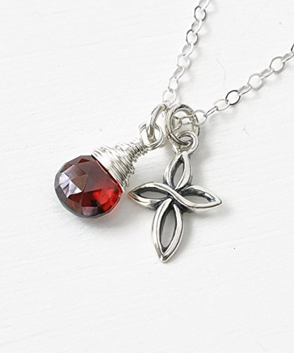 Tiny January Birthstone Cross Necklace for Women - Garnet in Sterling Silver 18 Inch Garnet Religious Cross