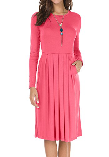 Womens Long Sleeve Pockets Draped Loose Swing Casual Party Midi Dress Red L