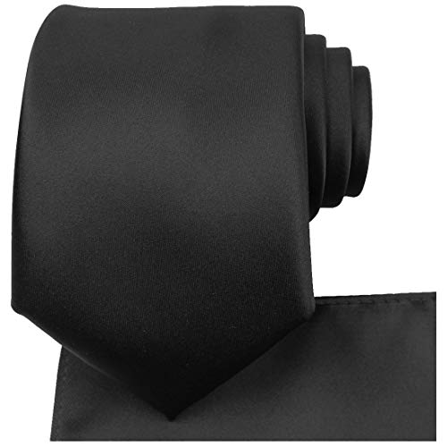KissTies Black Tie Set Solid Satin Necktie + Pocket Square + Gift Box ()