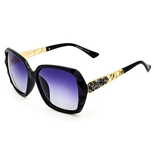 UV Protection Lunettes Grise Classiques Surdimensionnées Lentille Cadre Soleil Noir 100 Femmes LECKIRUT de Pour Polarisées zwxqdTggva