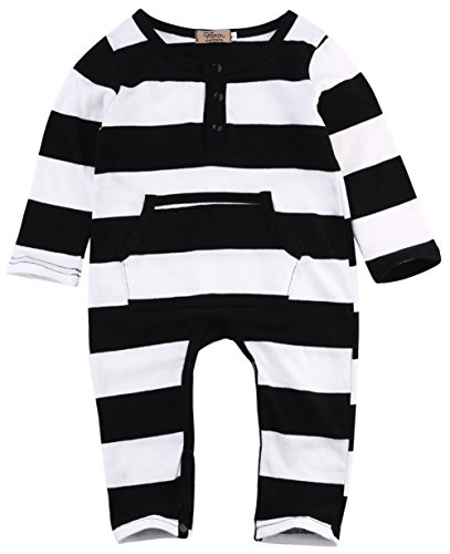 Seven Young Newborn Baby Striped Jumpsuit,Toddler Girls Boys Clothes Long Sleeve Bodysuit Rompers Outfits Set (Striped, 1-2 T) ()
