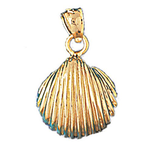 14K Yellow Gold Shell Pendant Necklace - 28 mm 14k Yellow Gold Shell
