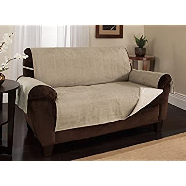 Furniture Fresh - New and Improved Anti-Slip Grip Furniture Protector with Stay Put Straps and Water Resistant Microsuede Fabric (Loveseat, Natural)
