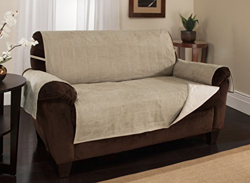 Furniture Fresh – New and Improved Anti-Slip Grip Furniture Protector with Stay Put Straps and Water Resistant Microsuede Fabric (Loveseat, Natural)