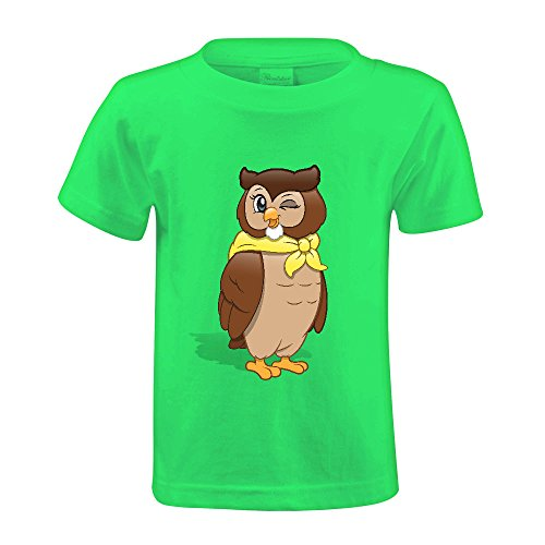 Jstmon Cute Owl Color Cute Short Sleeve Print Tee Shirt for Kids Green