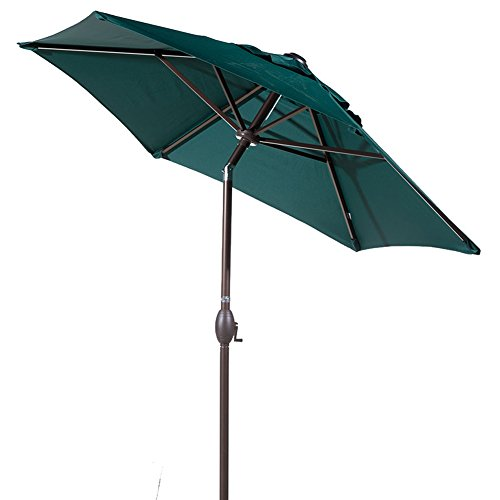 Abba Patio 7-1/2 ft. Round Outdoor Market Patio Umbrella with Push Button Tilt and Crank Lift, Green
