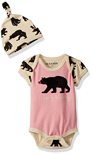 Little Blue House by Hatley Baby Girls Bodysuit and Cap, Bearly Sleeping, 18-24 - Body Suit Baby Sleeping