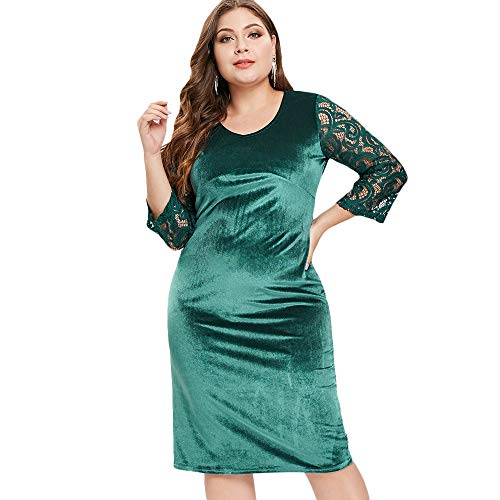 KCatsy Lace Sleeve Plus Size Knee Length Velvet Dress Green]()