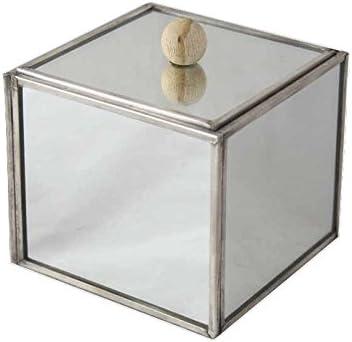 Better & Best Caja con Forma de Cubo, pequeña, con Caras de Espejo, con Tapa con Bola de Madera, Cristal Metal Plateado, 11.00x11.00x9.00 cm: Amazon.es: Hogar