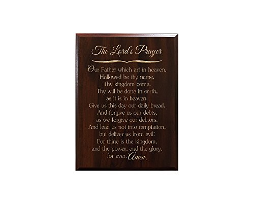 The Lord's Prayer Our Father which art in heaven, Hallowed be thy name. Thy kingdom come. Thy will be done in earth, as it is in heaven. Give us this... Decorative Carved Wood Sign Quote, Faux Cherry (Our Father In Heaven Hallowed Be Your Name)