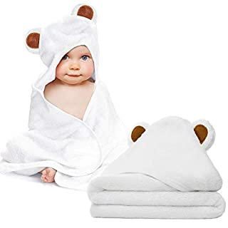 Baby Towel and Washcloth Set-Baby Bath Towel and Washcloth -Hooded Towel and Washcloth-Organic Bamboo Fiber Hooded Baby Towel for Boys, Girls, Kids, Toddlers, Newborn Bath Present(35 by 35in)