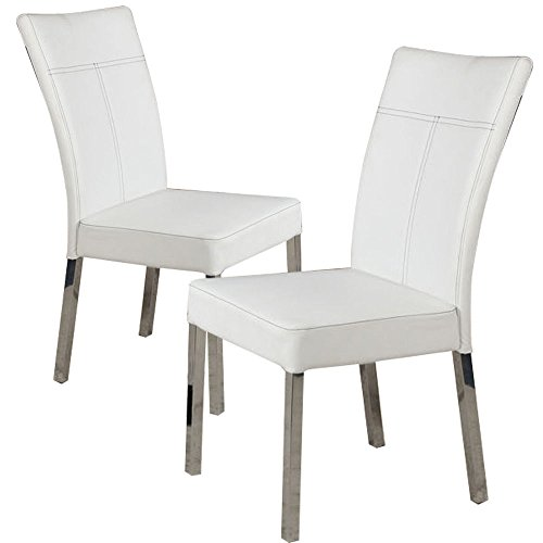 1PerfectChoice Set of 4 Dining Side Chair White PU Leather High Back w/ Metal Chrome Legs