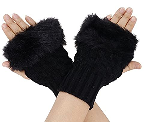 Simplicity Soft & Fuzzy Faux Fur winter warm Crochet Fingerless Gloves/Mittens - Fur Leather Gloves