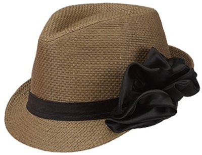 Satin Bow Fedora (Brown One Size Fits Most