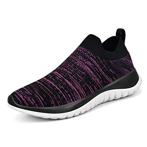 KIKOSOCKS Women Sneakers Mesh Lace-Up Athletic Shoes Flat Running Non-Slip Light Sport Sneakers Black Purple 9 M US