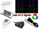 Set of LED Glass Edge Lighting Clips Kit in RGB Including Multi-Function Remote Control-16 Colour/Glass Edge Shelf Back Side Lighting/Under Cabinet Lighting (Set of 2 Clips)