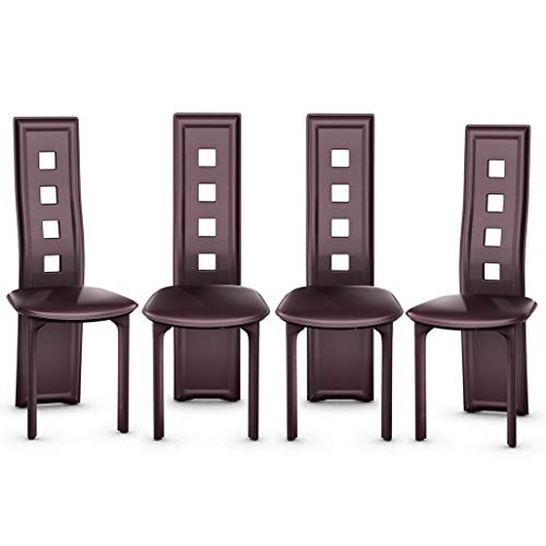 Dining Chairs Steel Frame High Back Armless Home Furniture Brown Set of 4 - Mahogany Chippendale Style Side Chair