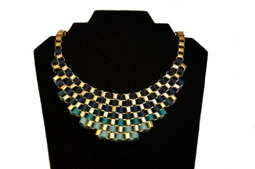 Shades of Blue Interwoven Ribbon Statement Necklace