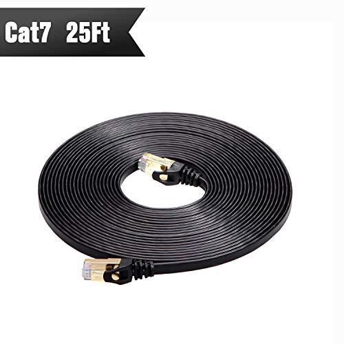 CableGeeker Cat7 Shielded Ethernet Cable 25ft (Highest Speed Cable) Flat Ethernet Patch Cable Support Cat5/Cat6 Network,600Mhz,10Gbps - Black Computer Cord + Free Clips and Straps for Router Xbox