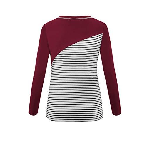 Femme Vtements Hauts Neck lgant Bringbring Chic Longues Shirt Ray Manches Chemisier Hauts O Rouge T BxBwS
