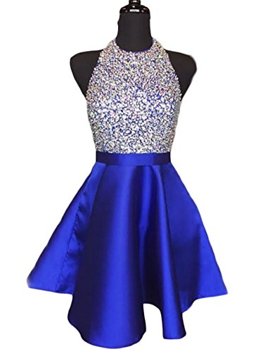 LCRS Juniors Short Homecoming Dresses Pockets Satin Beaded Halter Cocktail Prom Gowns 2 Royal (Beaded Halter Cocktail Dress)