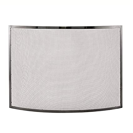 amazon com pemberly row single panel curved pewter fireplace screen rh amazon com pewter leaded glass fireplace screen Fireplace Inserts for Screens