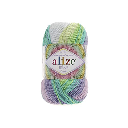(100% Mercerized Cotton Yarn Alize Miss Batik Thread Crochet Lace Hand Knitting Craft Art Lot of 4skn 200gr Color Gradient 3708)