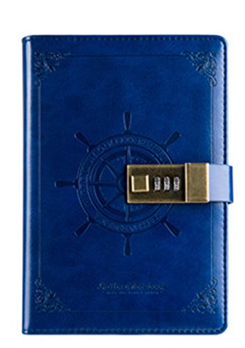Diary with Lock for Adults, J-Bless, Classic Hardcover Writing Notebook PU Leather Combination Lock Journal 5.5 x 7.9 Inch Retro Vintage (Lock and Diary) 112 Sheets Personal Journal Blue