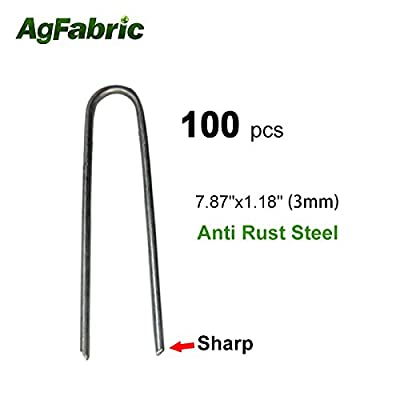 """Agfabric 100PACK 7.87"""" 9Guage Garden Landscape Staples Stakes Pins,Weed Barrier Fabric Ground Cover Soaker Hose Lawn Drippers Irrigation Tubing Wireless Invisible Dog Fence"""