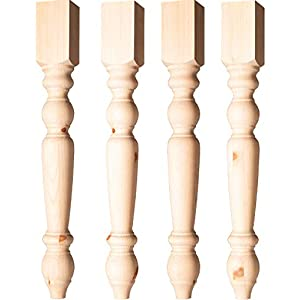 Transitional Country Dining Table Legs in Knotty Pine (Set of 4)