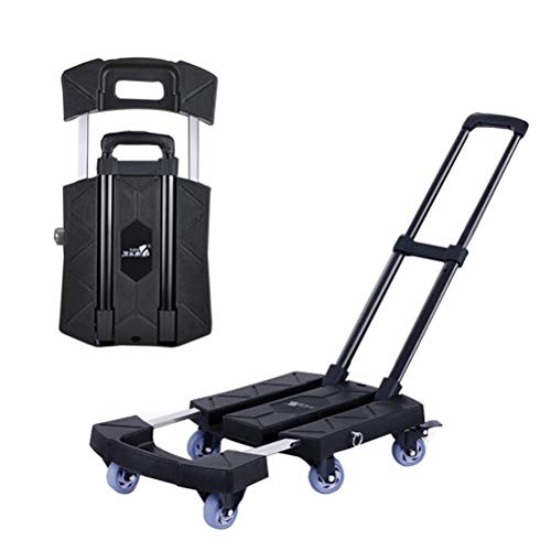 Zmmyr Portable Folding Luggage Cart Retractable Trolley Light Flat Pallet Truck 360°Totating 6 Wheels Load Dollies (Black)