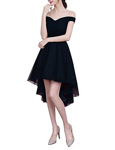 VIPbridal Mujeres de alto bajo fuera de hombro encaje hasta vestido de fiesta de baile Negro