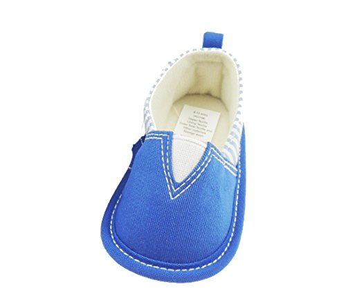 Bebé Niños Primera Walker bloque Nautical Estilo lienzo zapatillas rayas paneles laterales azul real