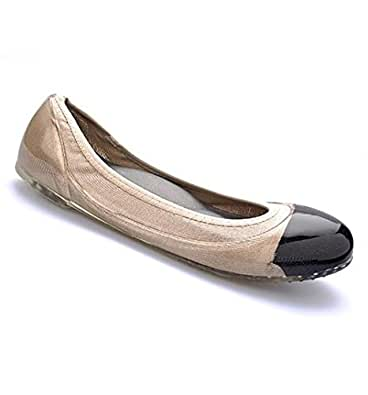 JA VIE Womens Summer Shoes Womens Ballet Flats Style for Every Day Wear Driving, Black Cap/Nude SZ 35