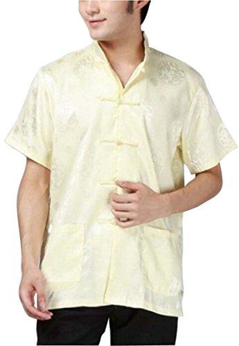 Blingland Kung Fu Short Sleeve Tang Suit Chinese Clothing Shirt for Men US XL Asia XXL-Light Yellow (Silk Kung Fu Shirt)