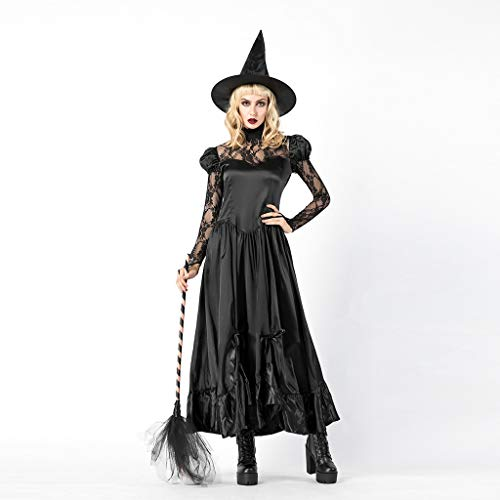 Baby Air Freshener Costume (Midress Women Ladies Halloween Costume Cosplay Witch Long Sleeve Dresses Vintage Maxi Dress&Hat Sets Party Halloween)