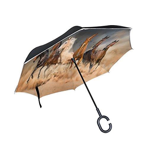 Cheap ALAZA Sand Storm Horse Inverted Umbrella, Large Double Layer Outdoor Rain Sun Car Reversible Umbrella