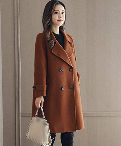 Stile Classiche Giaccone Lunga Donna Tasche Modern Invernali Karamell Trench Vento Donne Giacca Outerwear Elegante Bavero Breasted Double Laterali Manica 1x1HOZwqn