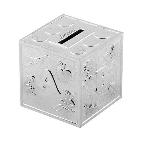 Personalised Cube A B C Silver Plated Money Bank Bambino by Juliana
