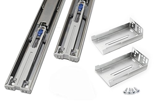 Comet Pro Hardware S9 16 Inch Full Extension Ball Bearing Soft Close Slides 100 LB Capacity Kitchen Cabinet Drawer Slides, Rear Mount Bracket and Screws are Included (16 Inch 1 Pair) ()