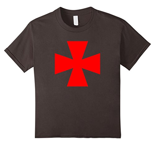 Kids Templar Cross Shirt Red Knight Cross Dress Up Costume Shirts 6 Asphalt (Mens Templar Knight Costume)