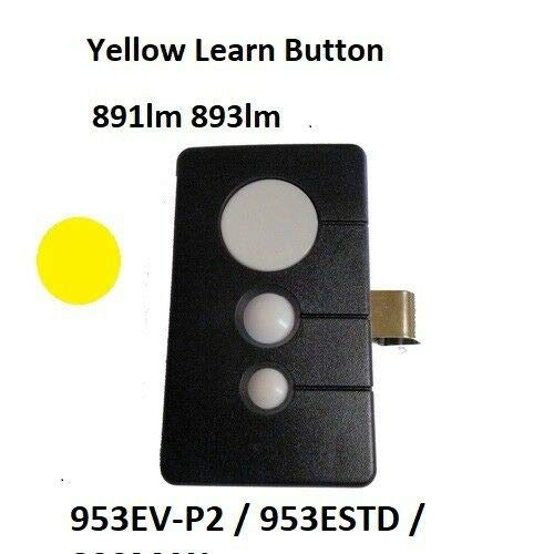Garage Door Opener Remote Transmitter Control for Sears Craftsman Chamberlain LiftMaster Includes Visor Clip Opener Keyless Entry Keypad Compatible Program for 953EV 953ESTD 893MAX Yellow Learn Button