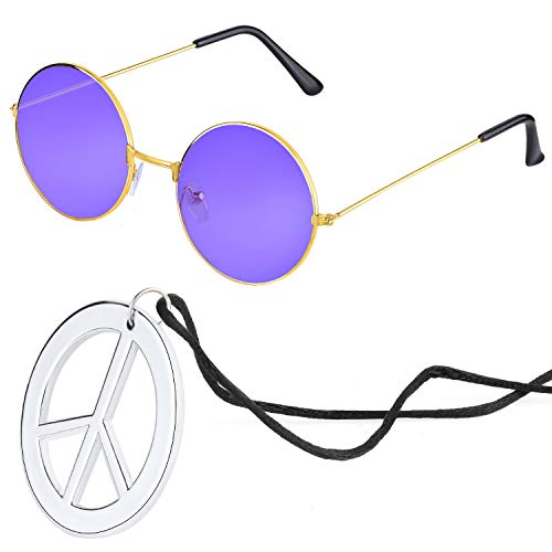 Beelittle Hippie Costume Accessories for Men and Women - Retro Hippie 60's Style Circle Glasses Peace Sign Necklace (Purple) for $<!--$7.99-->