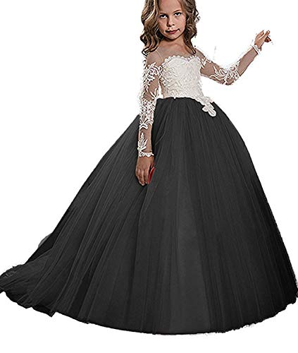 (KoKoHouse Flower Girls Ball Gown Pageant First Communion Scoop Lace Dress (US 6, Black))